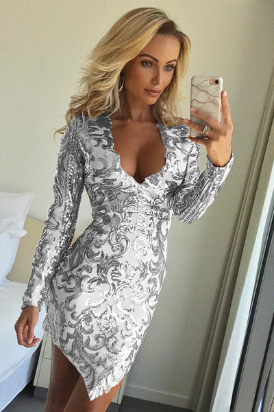 B| Chicloth White Patchwork Irregular Sequin V-neck Long Sleeve Party Dress - Chicloth