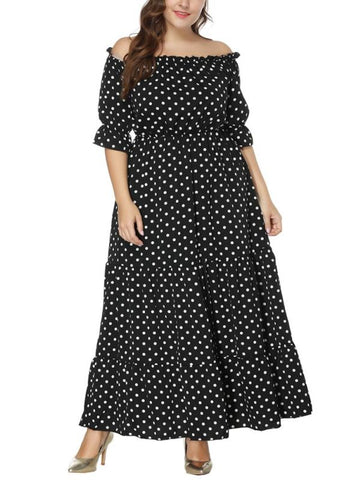 B| Chicloth Women Plus Size Dress Polka Dot Print Half Sleeves Elastic Waist Boho Maxi Long Dresses-polyester,anklelength,bateau,plussizedresses-Chicloth
