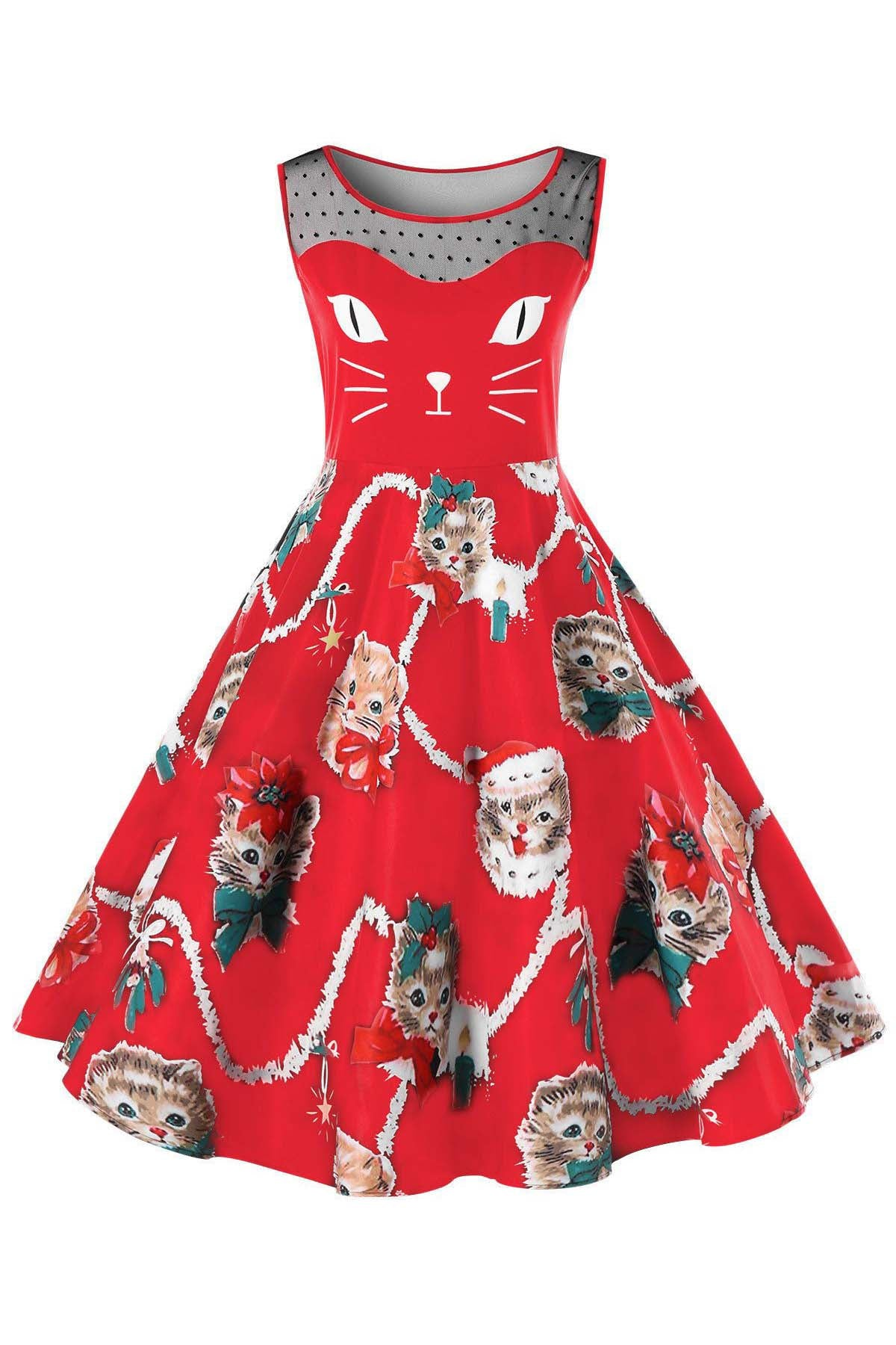 A| Chicloth Kitten Print Sleeveless Fit and Flare Dress Christmas Dresses