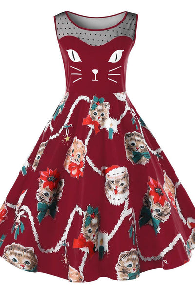 A| Chicloth Kitten Print Sleeveless Fit and Flare Dress Christmas Dresses-Christmas Dresses-Chicloth
