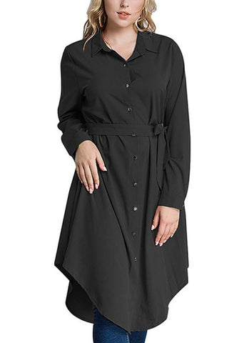 Chicloth Women Long Sleeve Irregular Hem Belted Solid Tunic Plus Size Shirt-Plus Size Tops-Chicloth