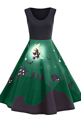 B| Chicloth Halloween Bat Castle Vintage A Line Dress-party dresses-Chicloth