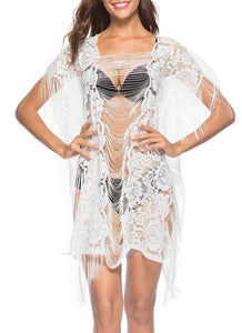 C| Chicloth Sheer See Through Floral Lace Tassel Fringe Mini Loose Solid Beach Cover Up