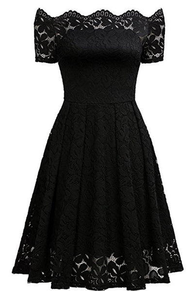A| Chicloth 2018 Solid Lace Peasant Off the Shoulder A-line Dress-Chicloth