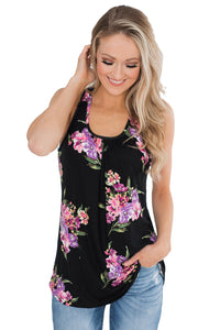 Z| Chicloth Black Floral Summer Tank