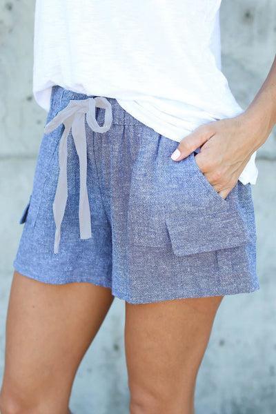 B| Chicloth Hot shorts Summer Blue Casual Shorts High Waist-Chicloth