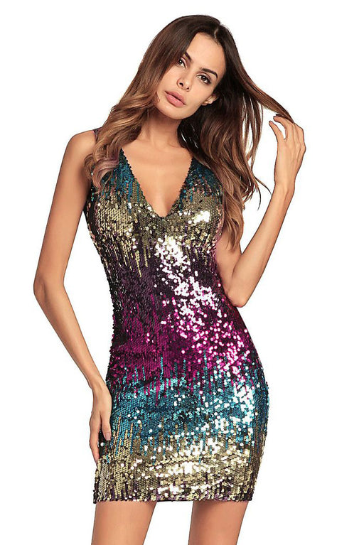 B| Chicloth Hot Style Sleeveless Hip Skirt Sexy Sequin Dress Annual Dress Skirt-Sequin Dresses-Chicloth