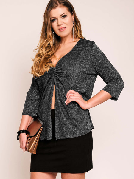 Chicloth Deep V-Neck Half Sleeve Plus Size Blouse