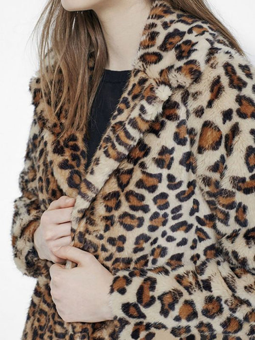 Brown Leopard Print Long Sleeve Fur And Faux Fur Coats-Faux Fur Coats-Chicloth