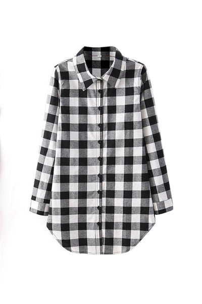 Chicloth New Wild Plaid Long Shirt Long Sleeve Casual Ladies Shirt 08