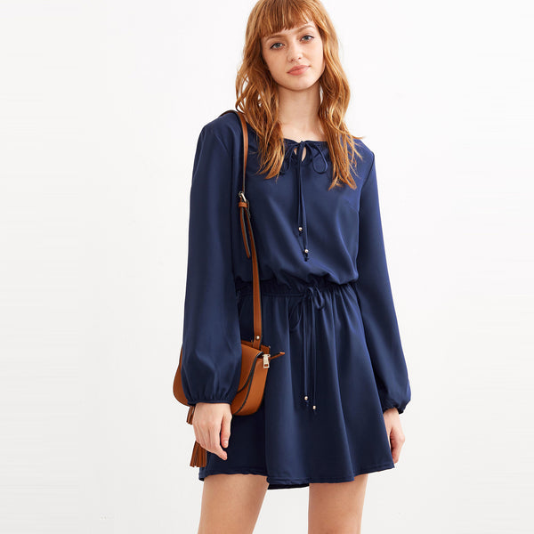 Chicloth Dark Blue Long Sleeve Dress