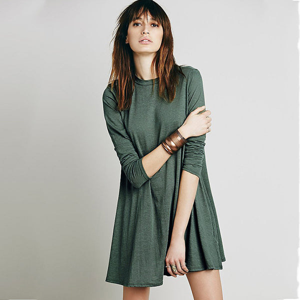 Chicloth Fashionable solid color T-shirt Dress
