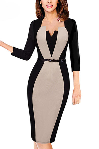 New Autumn Winter Patchwork Dresses Vestidos De Festa Womens Ladies Office Elegant Bodycon Work Pencil Black Dress - Chicloth