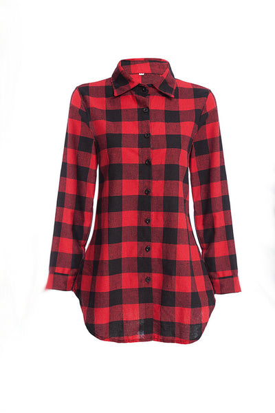 Chicloth New Wild Plaid Long Shirt Long Sleeve Casual Ladies Shirt 09