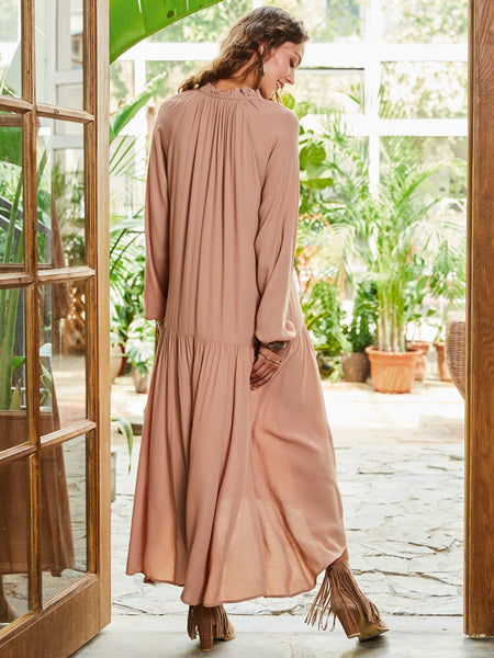 A| Chicloth Beige String Super Long Holiday Dress-Maxi Dress-Chicloth