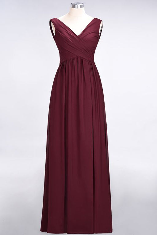Chicloth A-Line Chiffon Straps V-Neck Sleeveless Floor-Length Bridesmaid Dress with Ruffles-Bridesmaid Dresses-Chicloth