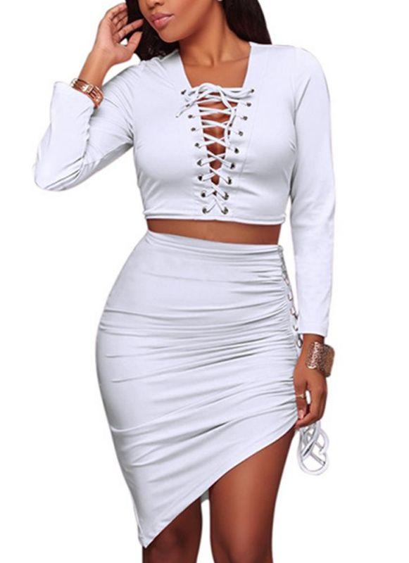 B/ Chicloth Sexy Two-piece Set Bandage Asymmetric Bodycon Skirt Suits Party Clubwear - White / S