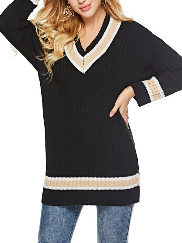 Casual Ribbed Solid Long Sweaters-Sweaters-Chicloth