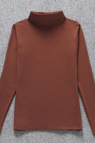 A| Chicloth Polyester Women High Neck Plain Long Sleeve T-Shirts