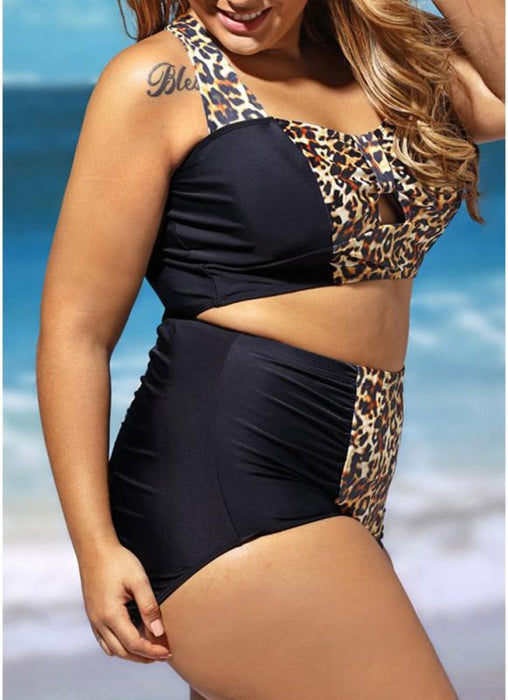 B| Chicloth Leopard Splice Push Up Padded Bandeau Plus Size Two Piece Swimwear-nylon,polyester,plussizeswimsuit-Chicloth