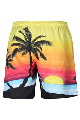 A| Chicloth Coconut Tree Men's Beach Board Swim Trunks With Mesh Lining-Chicloth