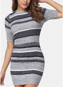 B| Chicloth Bodycon Half Sleeves Women's Sweater Dress