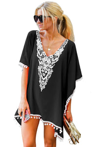 Z| Chicloth Black Crochet Chiffon Tassel Swimsuit Beach Cover Ups