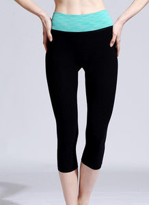 Fashion Contrast Elastic Waist Sports Fitness Cropped Yoga Leggings
