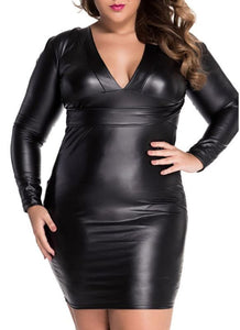 B| Chicloth Black Plunging V-neck Long-sleeve Leather Dress-plastic,mini,vneck,plussizedresses-Chicloth