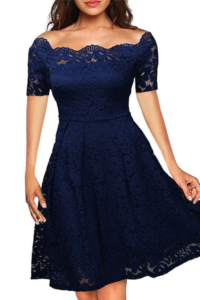 A| Chicloth Boat Neck Cocktail Swing Dress Black Long Sleeve Floral Lace Knee Length Formal Party Dresses