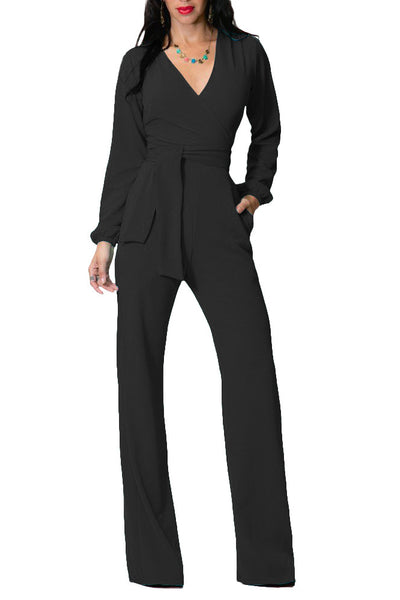 B| Chicloth Black Ployester Casual Jumpsuits Loose Jumpsuits