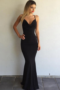B| Chicloth Black Prom Dresses Crisscross Back Sexy Mermaid Evening Gowns - Chicloth