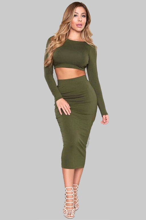 B| Chicloth Long Sleeve Back Slim Two-piece Dress-Chicloth