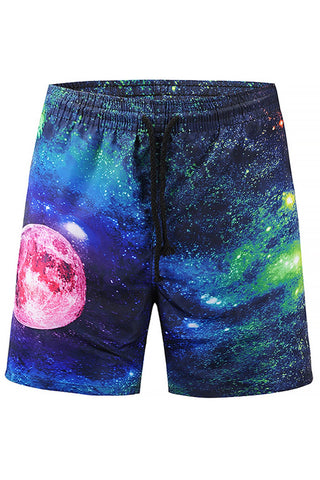 A| Chicloth Galaxy Printed Mens Beach Board Swim Shorts