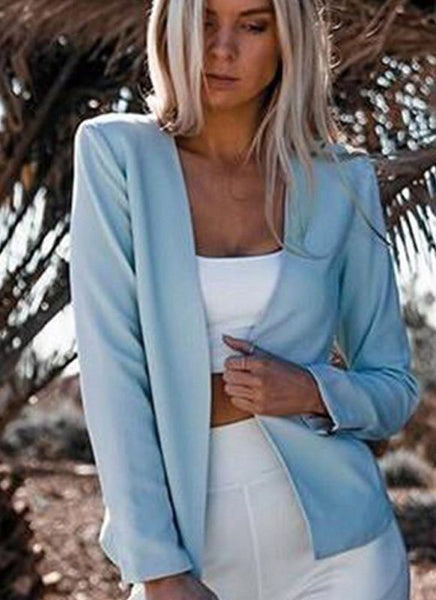 C| Chicloth Autumn Women Slim Fit Long Sleeves Open Front Blazer Jacket-coats-Chicloth