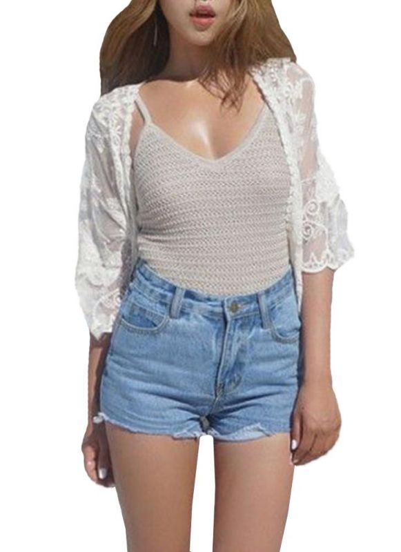 B| Chicloth Women Vintage Lace Crochet Beach Cardigan-polyester,chinlon,onepieceswimsuit-Chicloth
