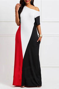 A| Chicloth Short Sleeve Floor-Length Color Block Maxi Dress-plus size dresses-Chicloth