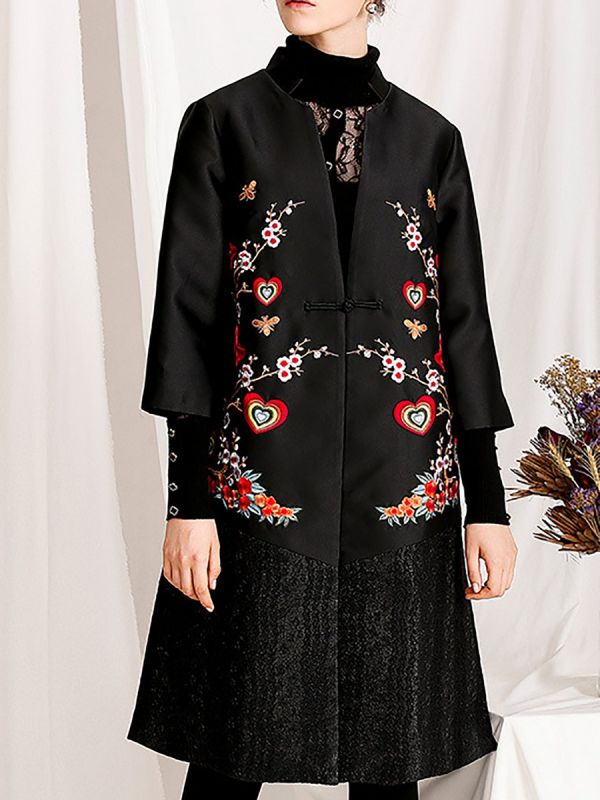 Casual Floral Shift 3/4 Sleeve Stand Coats & Jackets-Coats & Jackets-Chicloth