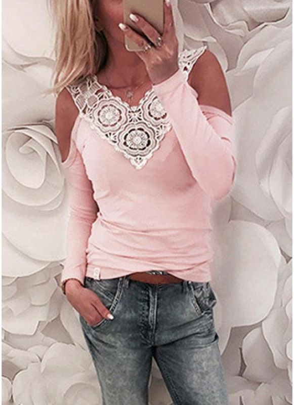 B/ Chicloth Women Blouse Lace Splice Cold Shoulder Slim Casual T-Shirt Tee Tops - Pink / M