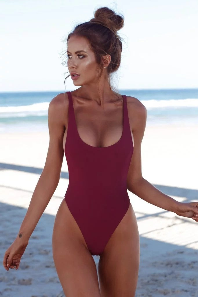 151ae9867d Sexy Women Ribbed Knotted Backless Monokini One Piece Swimsuit Deep ...