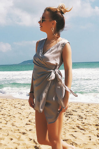 A| Chicloth Sexy Women Summer Dress V Neck Elegant Cover Ups-Chicloth