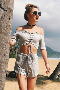 B| Chicloth One-necked Strapless Short-sleeved Wide-leg Shorts Two-piece Suit-Chicloth