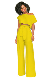 B| Chicloth Cropped Top Wide Legs Pants Set