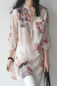 A| Chicloth Cotton Linen Women Band Collar Floral Printed Long Sleeve Blouses