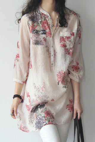 A| Chicloth Cotton Linen Women Band Collar Floral Printed Long Sleeve Blouses-Chicloth