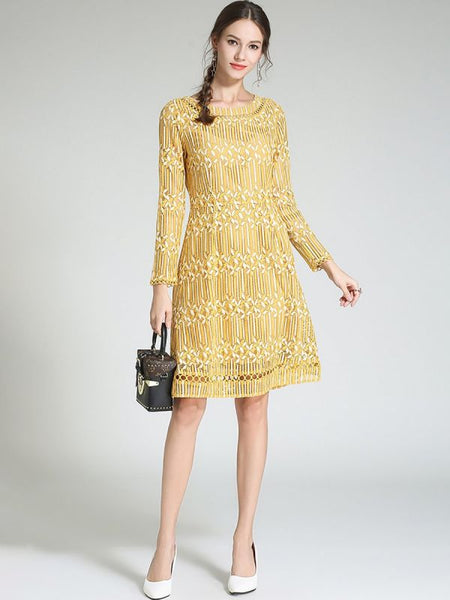 A-line Daytime Casual Guipure lace Midi Dress