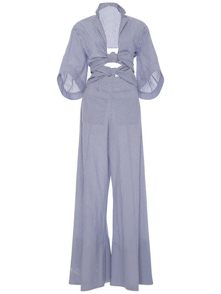 Chicloth Blue Stripe Waist Hollow Wide Leg Lotus Leaf Hem Jumpsuit-Jumpsuit-Chicloth