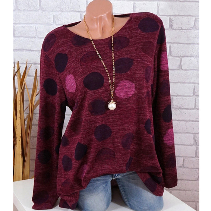 A| Chicoth Print Casual Cotton Round-Neckline Long Sleeves Blouses-Chicloth