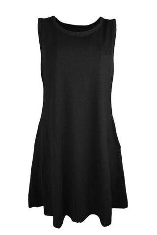 AA| Chicloth Solid Color Sleeveless Women Shift Dress