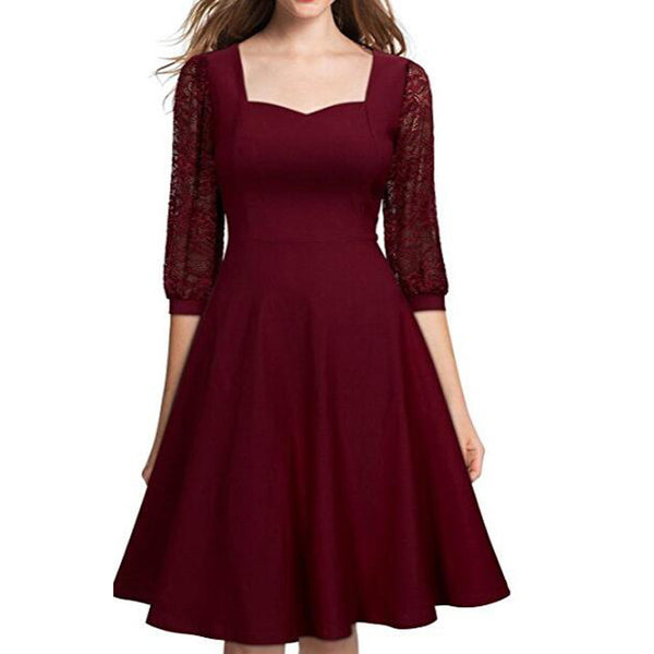 A| Chicloth Burgundy A-line Half Sleeve Lace Dress-Chicloth
